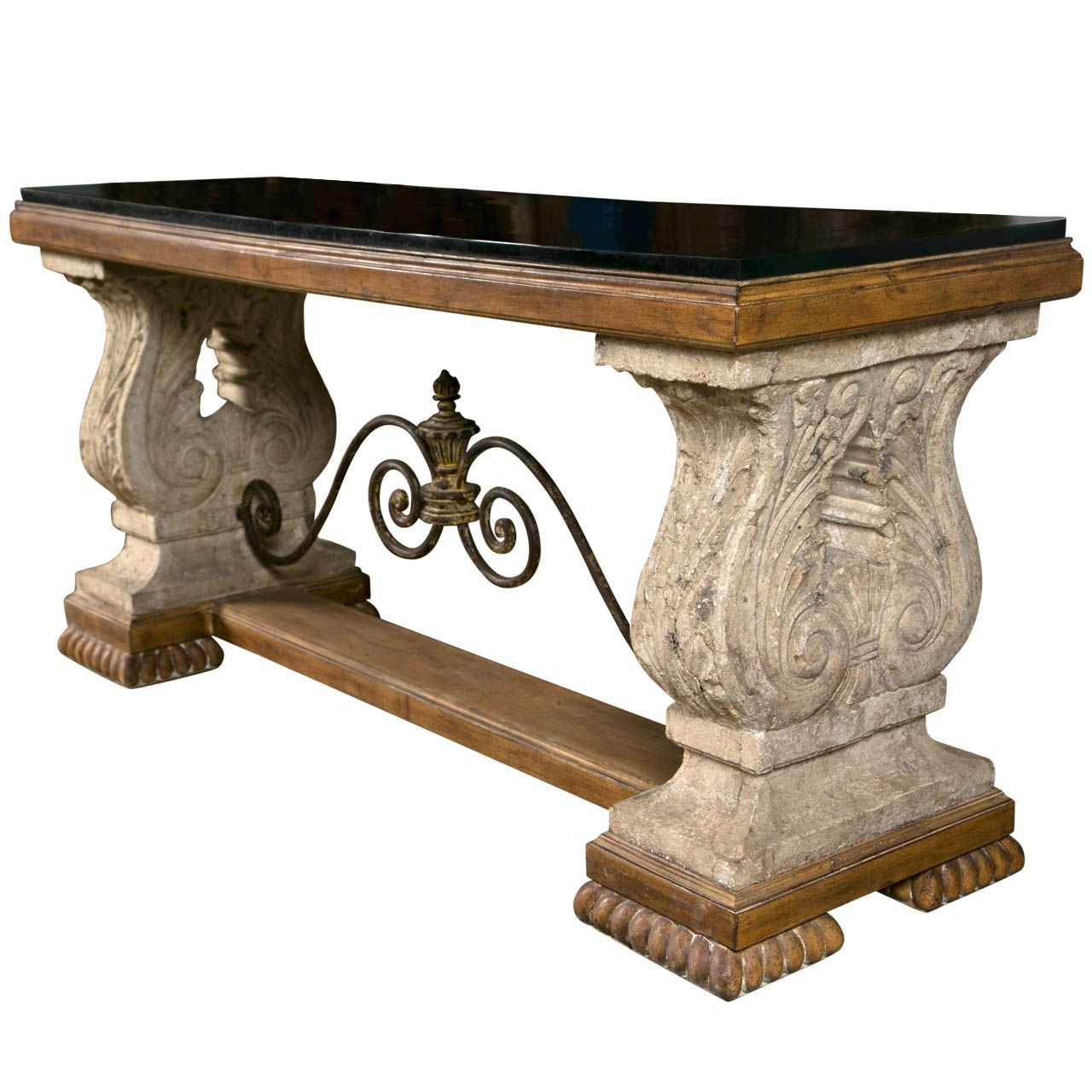 Spanish Colonial Style Stone Top Console Table 1stdibs Com Rustic Console Tables Rustic Consoles Console Table