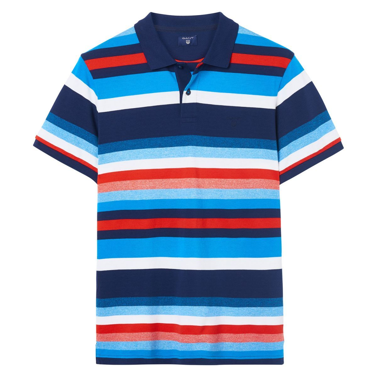 ba80192c2e5 Our Multistripe Polo Shirt, in 100% cotton, has a waffle and jersey mix  structure, and features an allover yarn-dyed stripe design featuring all of  our ...