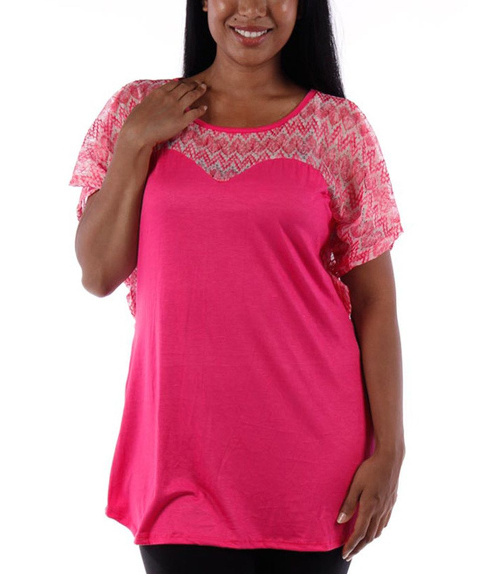 Love this Fuchsia Pointelle Cape-Sleeve Top - Plus by  on #zulily! #zulilyfinds