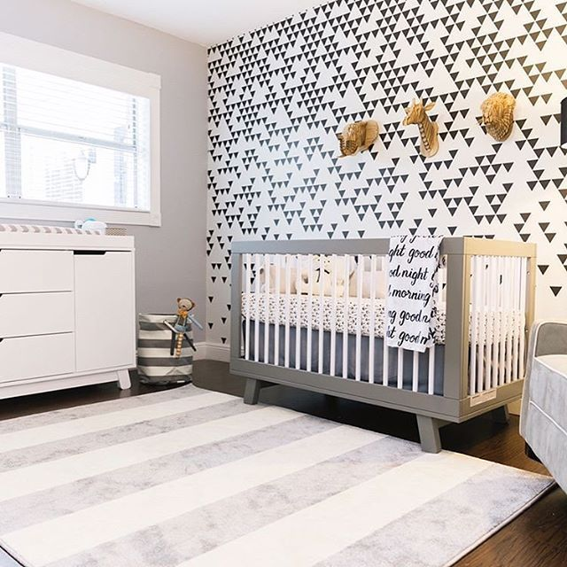 This Bold Mod Space Is So Cool And Patiently Waiting For Its Baby Design By Conceptomv Image By V White Dresser Nursery Babyletto Crib Monochrome Nursery