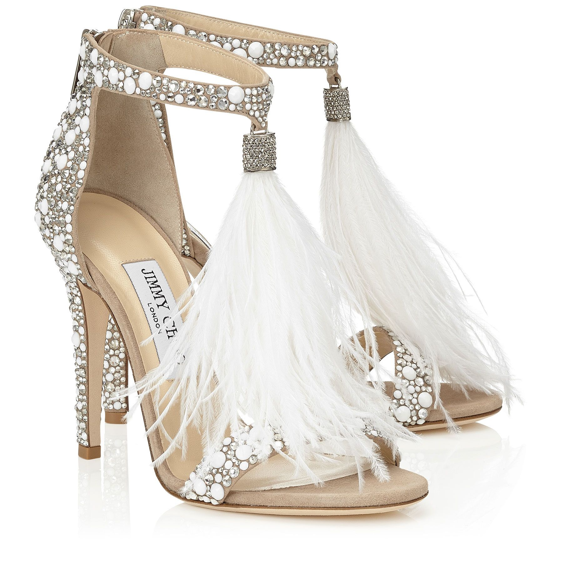 Jimmy Choo VIOLA 110 White Suede and Hot Fix Crystal Embellished Sandals  with an Ostrich Feather