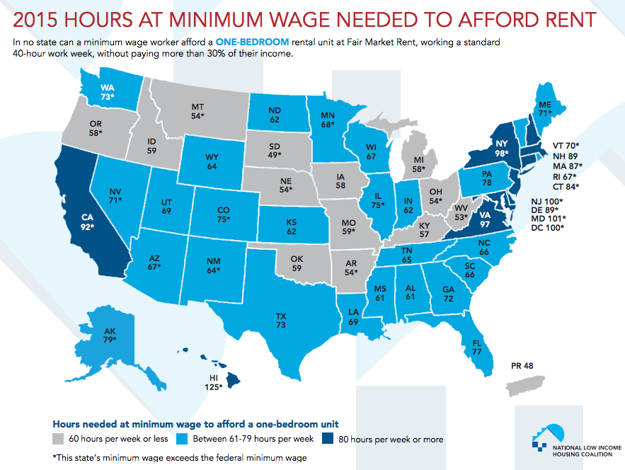 One Map Shows How Many Hours You Need To Work Minimum Wage To Rent An Apartment In Any State Minimum Wage Minimum Wage Job Rent