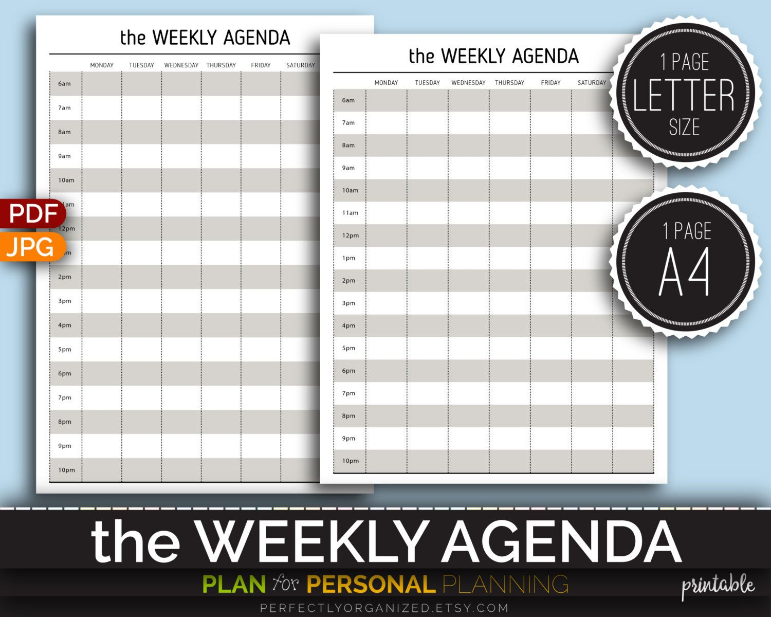 Weekly Agenda Weekly Schedule Planner To-Do List Weekly Calendar ...