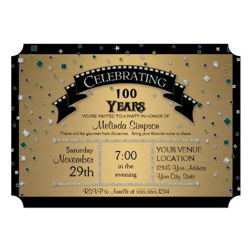 Ticket style 100th Birthday Party Invitations to Celebrate a