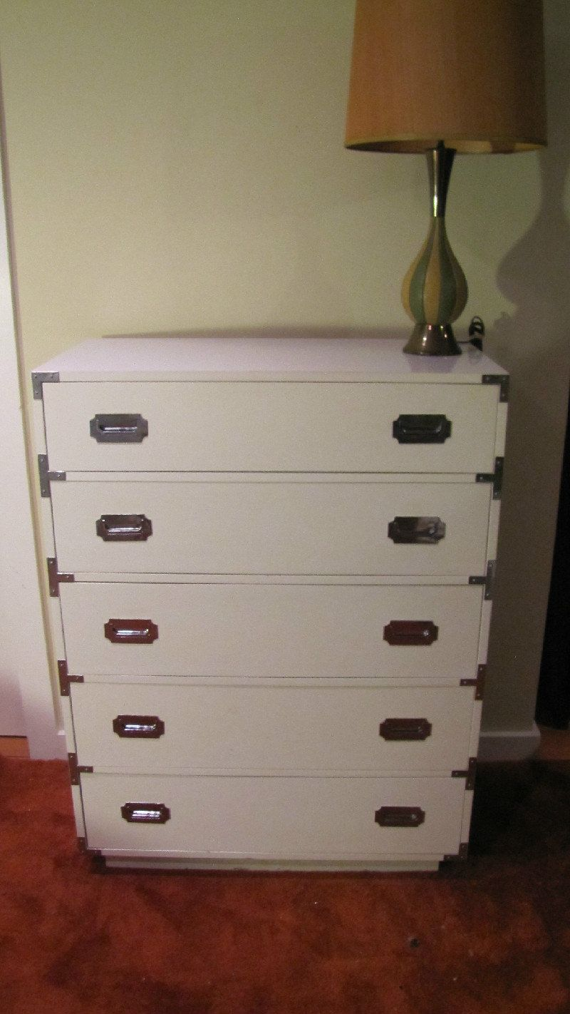 Vintage Campaign Campaigner By Dixie Mid Century Modern Hollywood Regency Tall Dresser White Chest Of Dra White Chest Of Drawers Tall Dresser Chest Of Drawers