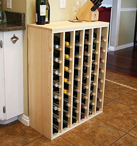 Vinogrotto 48 Bottle Premium Table Wine Rack Pine By Vinogrotto Exclusive 12 Inch Deep Design With Solid Sides H Wine Rack Wine Kitchen Pantry Storage Cabinet
