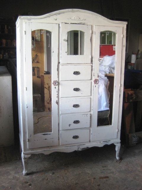 Marvelous Vintage Armoire Distressed White Finish   Shabby Chic Furniture   Bedroom Wardrobe  Closet Cabinet Mirrors On