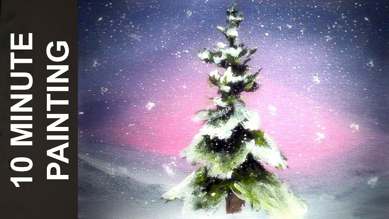 Painting A Holiday Christmas Tree Scene With Acrylics In 10 Minutes Youtube Christmas Paintings Holiday Christmas Tree Christmas Tree Painting