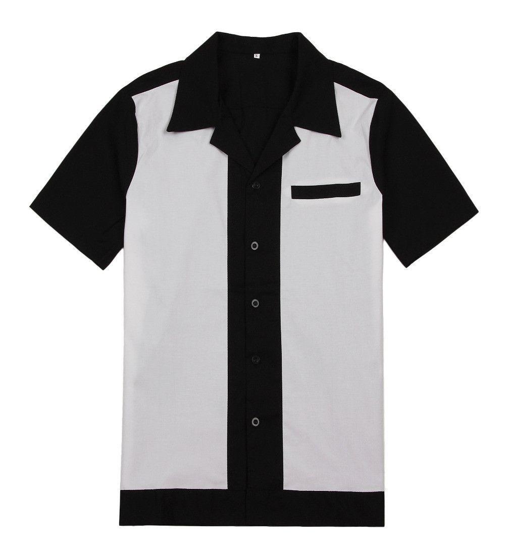 Men White and Black Cotton Button Up Retro Bowling Shirt | Cuellos ...