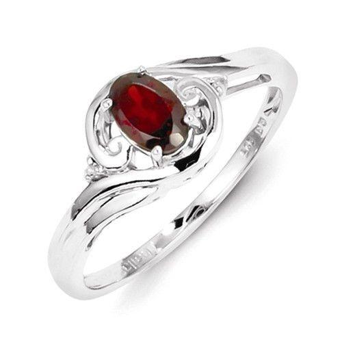 Sterling Silver Diamond Oval Garnet January Birthstone Ring