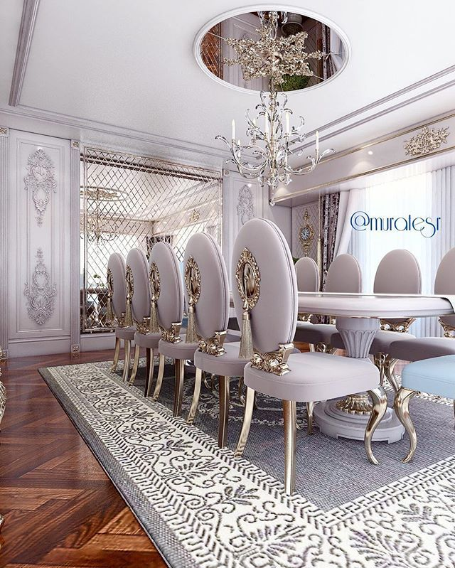Royal Palace Style Dining Area With Baby Purple Color Chairs