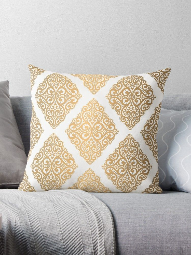 Remarkable Curly Baroque Gold And White Ornament Pattern Throw Home Interior And Landscaping Dextoversignezvosmurscom