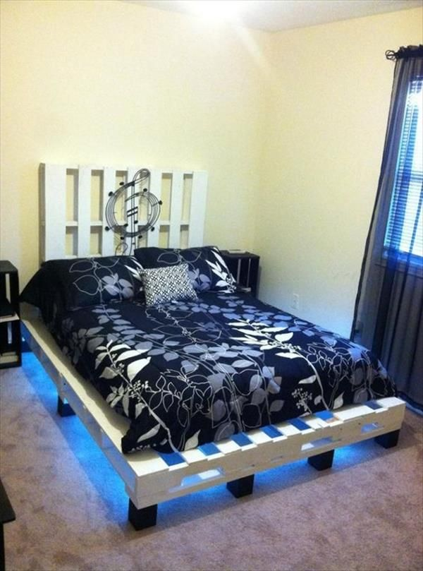 Precious And Simple Pallet Ideas For Bed Frame With Lights Pallet