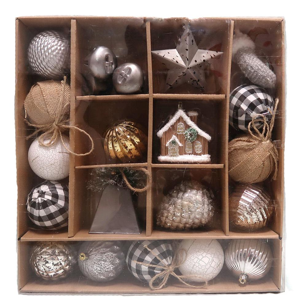 Home Accents Holiday Ashford Meadows Shatterproof Ornament Set 22 Count C 18098 D The Home Depot Shatterproof Ornaments Ornament Set Hand Painted Decor