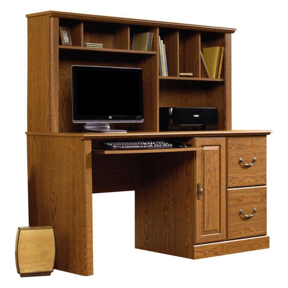 Sauder Orchard Hills Computer Desk With Hutch Carolina Oak Home Office Desks