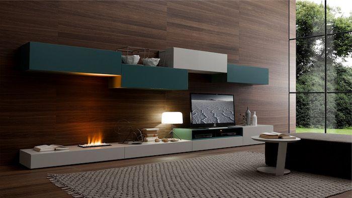 tv wohnwand dunkelgrün mit braun kombinieren farben an der wand - wandgestaltung braun ideen