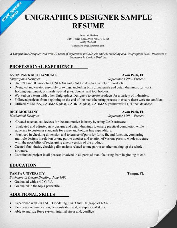 We would put the education first, but this is a nice example of - cad specialist sample resume