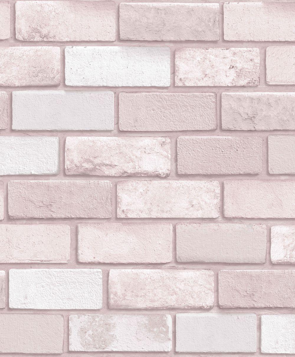 A Timeless Brick Wallpaper Design In A Soft Blush Colou