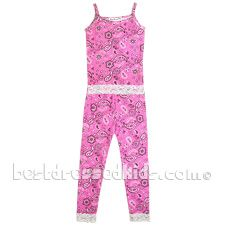This cute tank & capri pajama set is just right for the girl who gets cold easily... or hot easily! From Thingamajiggies 4 Kids. 100% cotton. Made in U.S.A. .  .     pink snug-fit pajamas .     bandana pattern .     tank top .     elastic waist capri pants .     lace trim .  . For child's safety, garment should fit snugly. This garment is not flame resistant. Loose-fitting garment is more likely to catch fire.