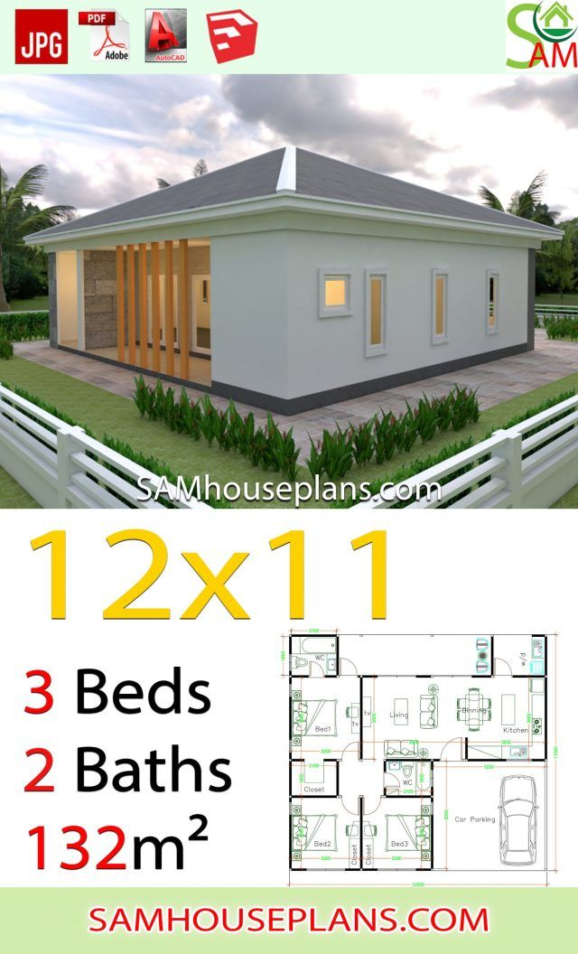 House Plans 12x11 With 3 Bedrooms Hip Roof Sam House Plans Free House Plans House Plans My House Plans