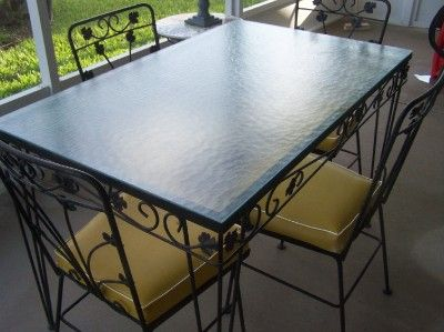 Vintage Wrought Iron Patio Table And 4 Chairs Glass Top Black