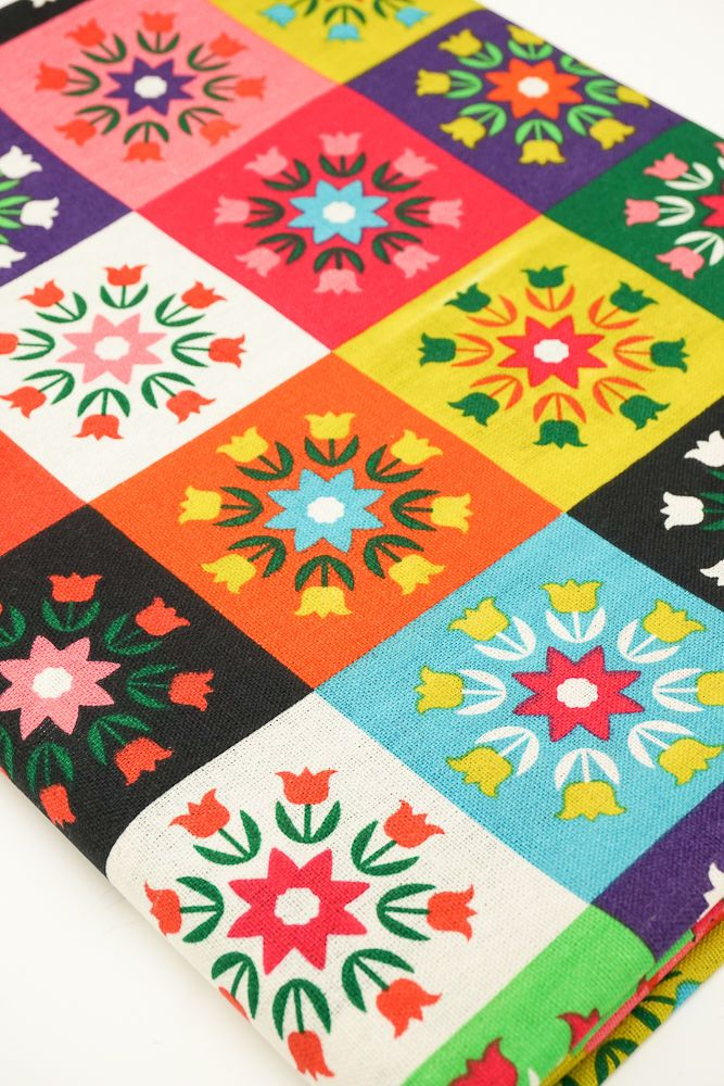 Funky Cotton Linen Fabric Colourful Patchwork Style Tulip Flowers Red Green in Crafts, Sewing & Fabric, Fabric   eBay