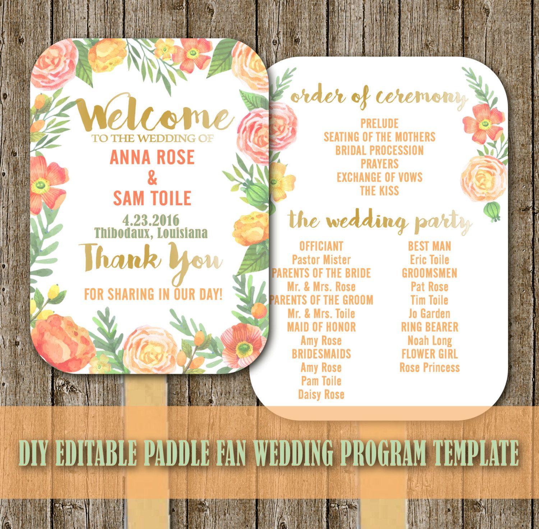Budget DIY Printable Wedding Fan Program Paddle Spring Editable