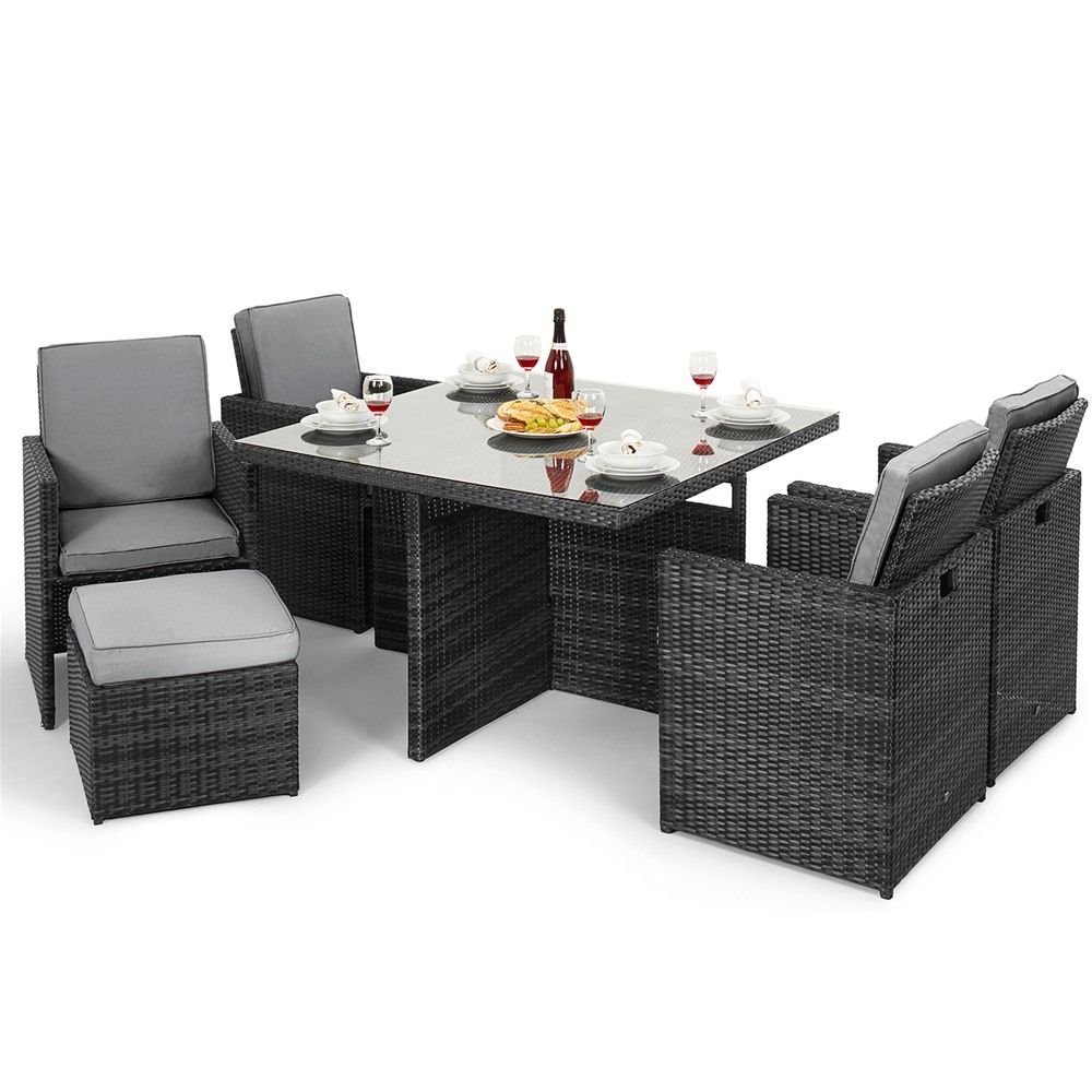 Maze Rattan Milan 8 Seat Round Dining Set With Carver Chairs: Maze Rattan 5 Piece Cube Set With Foot Stools