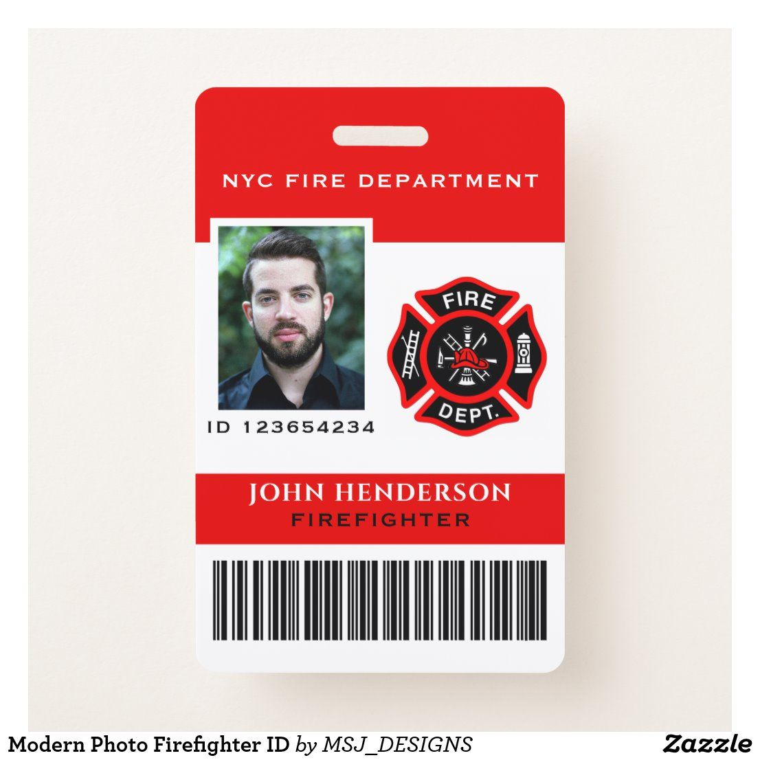 Modern Photo Firefighter Id Badge Zazzle Com Firefighter Planner Book Id Badge