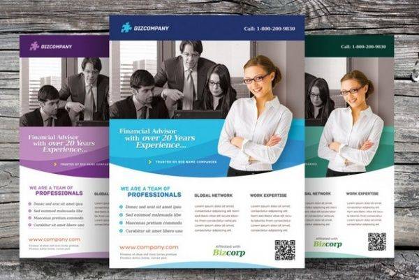 Trípticos online, 30 plantillas de folletos GRATIS para Photoshop - corporate flyer template