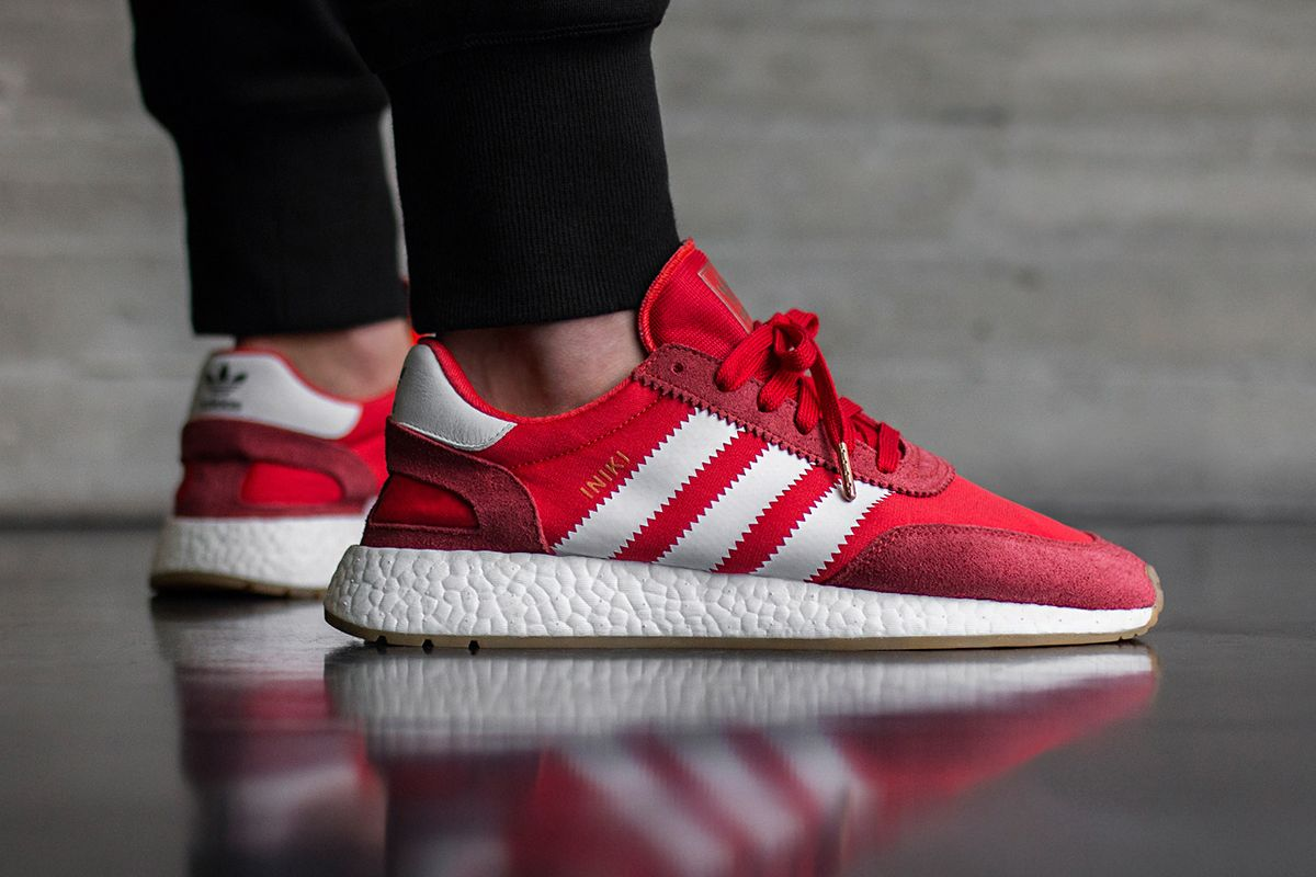 new york b19bc c711a On Foot  adidas INIKI Runner (Red   Collegiate Navy) - EU Kicks Sneaker  Magazine