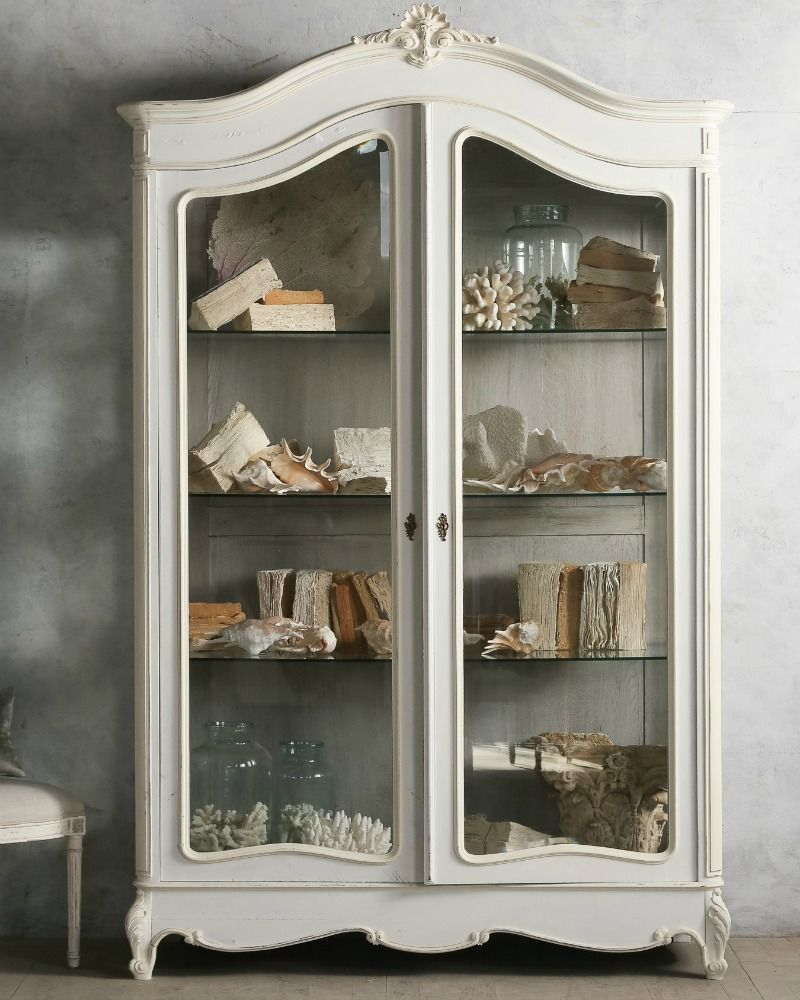 Vintage Elegant Louis XV French Style White Armoire. FrenchGardenHouse.com