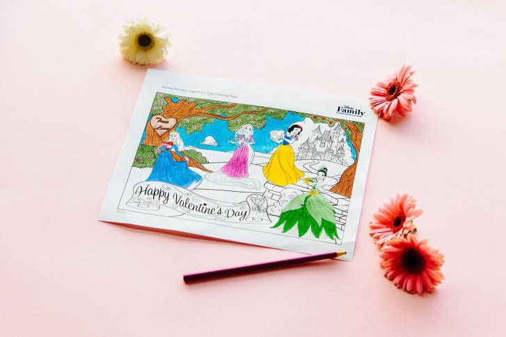 Disney Princess Valentine S Day Coloring Page Disney Family Valentines Day Coloring Page Princess Valentines Valentines Day Coloring