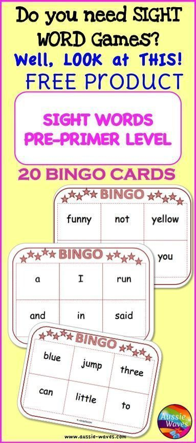 FREE! Pre-Primer Sight Word BINGO Card Games Printable with Word