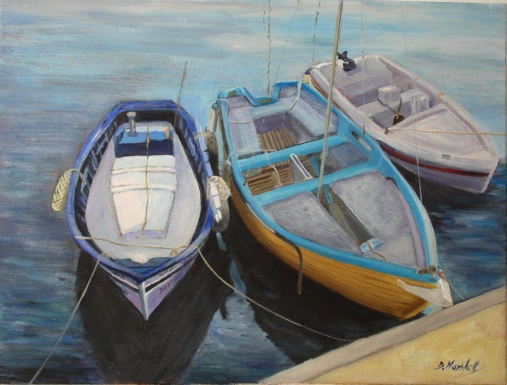 Garrucha Boats By Diana Marshall Painting Harbor Boat