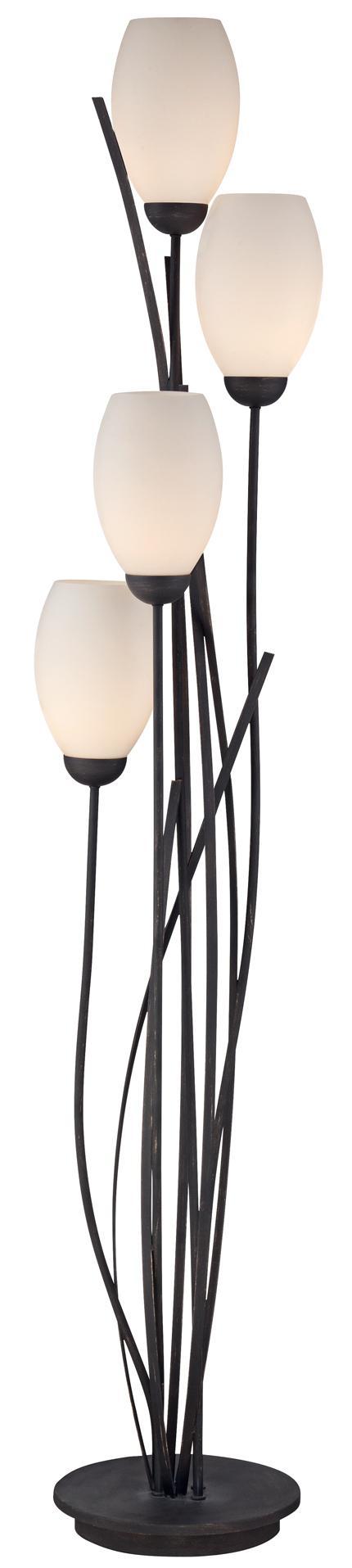 Black Metal And White Glass Tulip 4 Light Floor Lamp U2560 Lamps Plus Floor Lamp Modern Floor Lamps White Glass