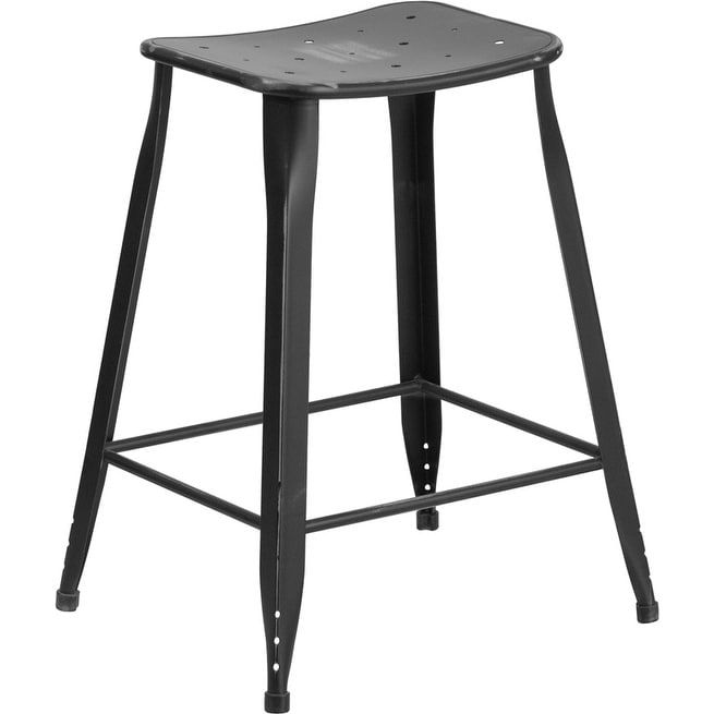 Flash Furniture 24 In. High Distressed Metal Indoor/Outdoor Counter Stool    The Flash Furniture 24 In. High Distressed Metal Indoor And Outdoor Counter  ...