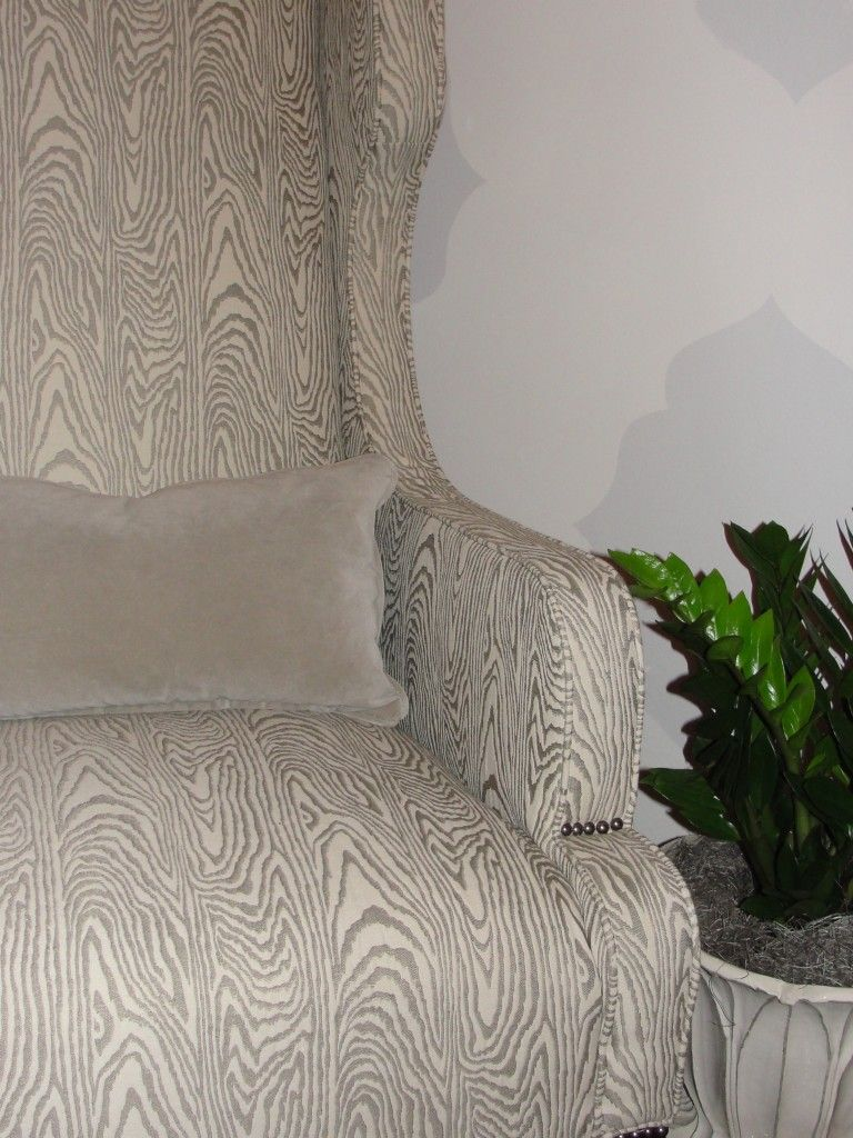 study idea faux bois wood grain fabric chair in taupe nice tailored rustic feel