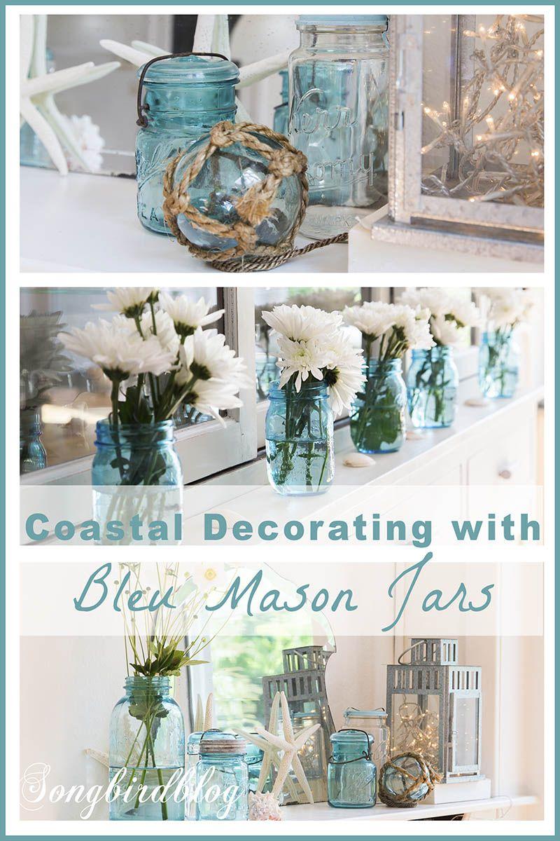 Decorating Ideas With Blue Mason Jars And Flowers Blue Mason