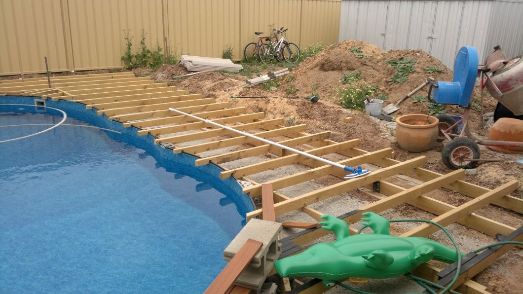 Just Few Pics Show What You All Helped Build Take Joists Around Pool Building A Deck Diy Deck Deck Design
