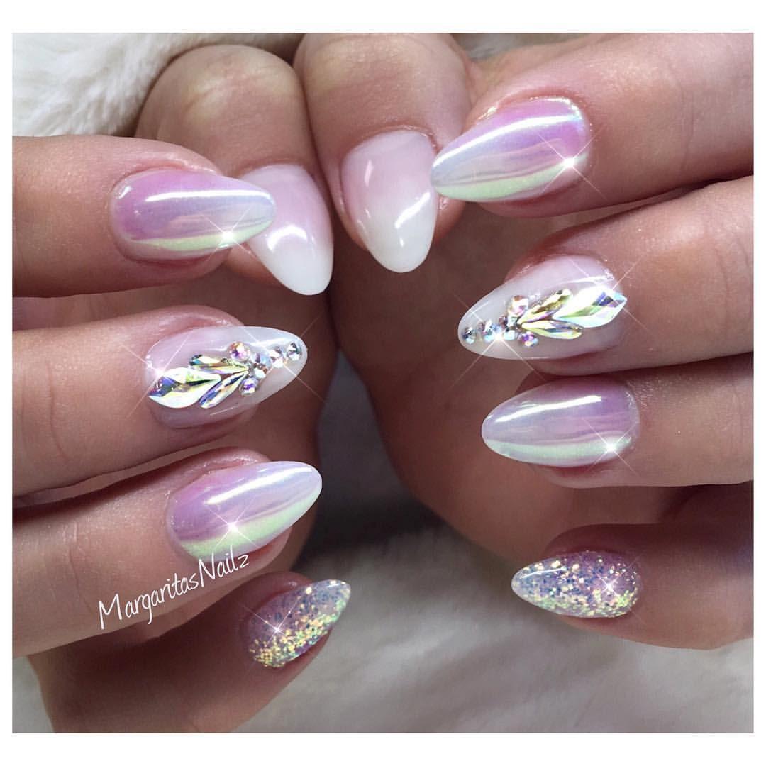 White Ombr Almond Nails Chrome Nail Art Swarovski Design