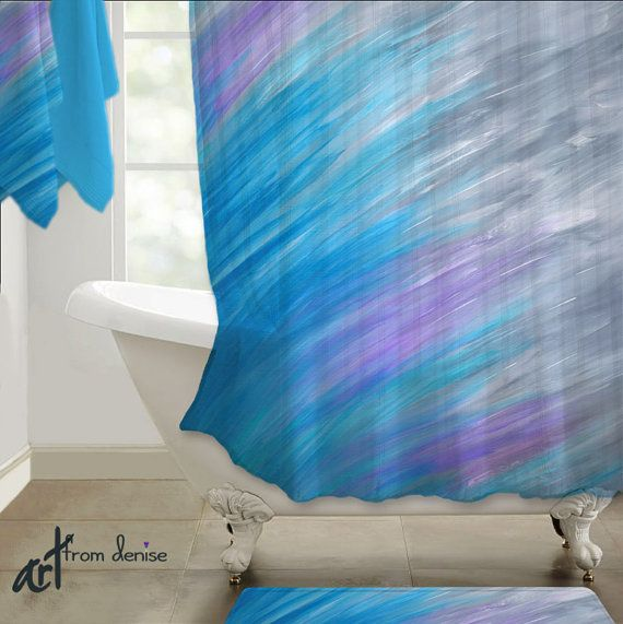 Gray Purple Violet And Turquoise Blue Shower Curtain Abstract