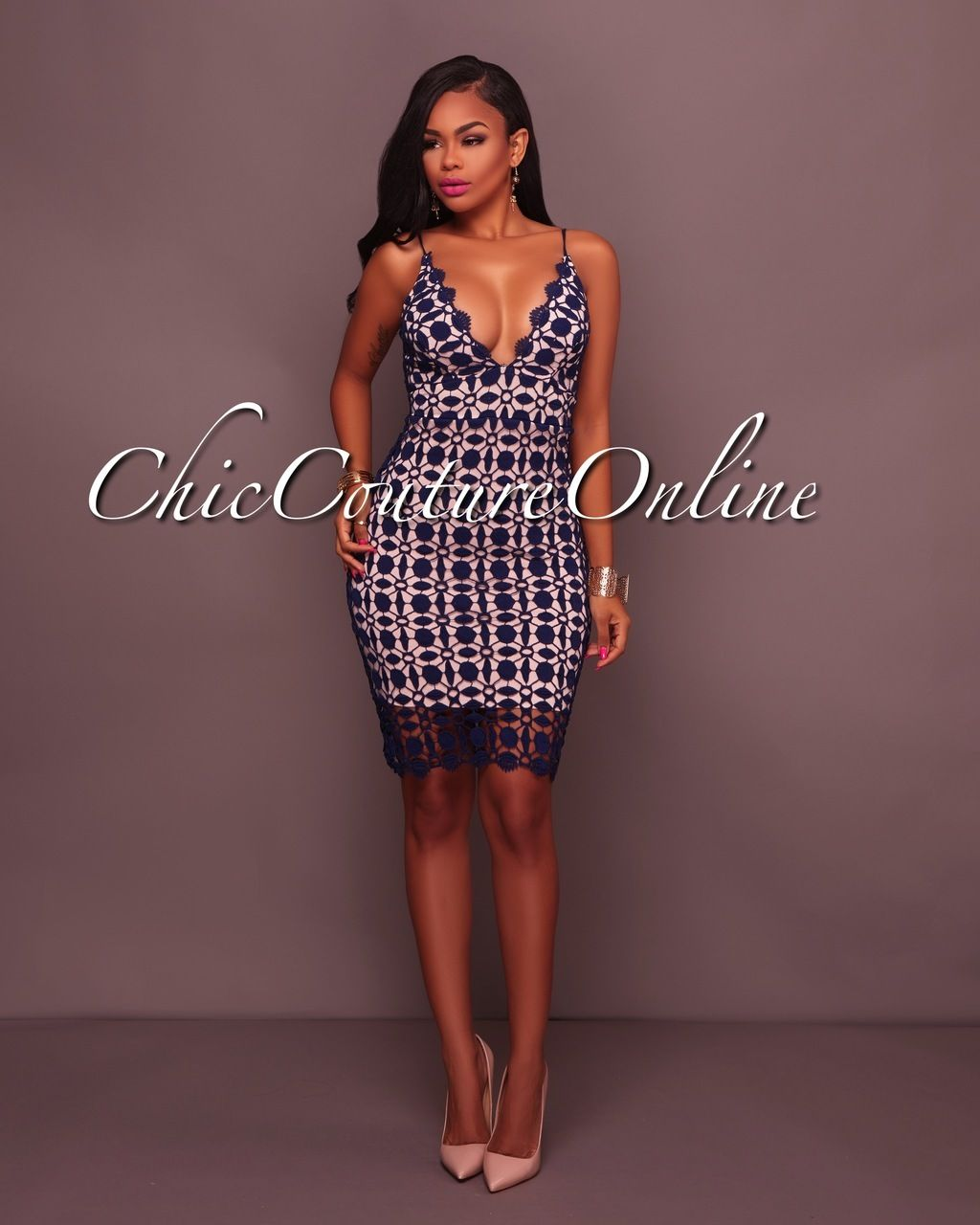 Chic couture online fancy navyblue crochet nude dress