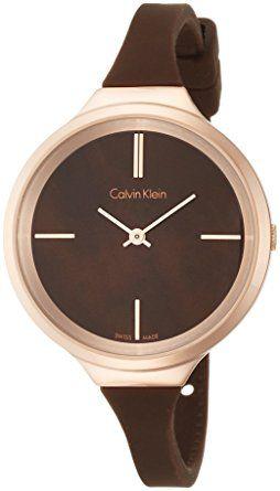 c0455a1ab87 Calvin Klein K4U236FK Ladies Lively Brown Silicone Strap Watch Relógio  Calvin Klein