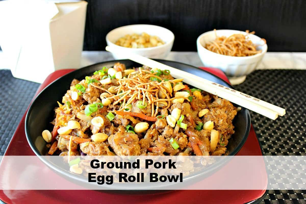 tasty chinese ground pork egg roll bowl kudos kitchen style in 2020 eggroll in a bowl pork egg rolls ground pork pinterest