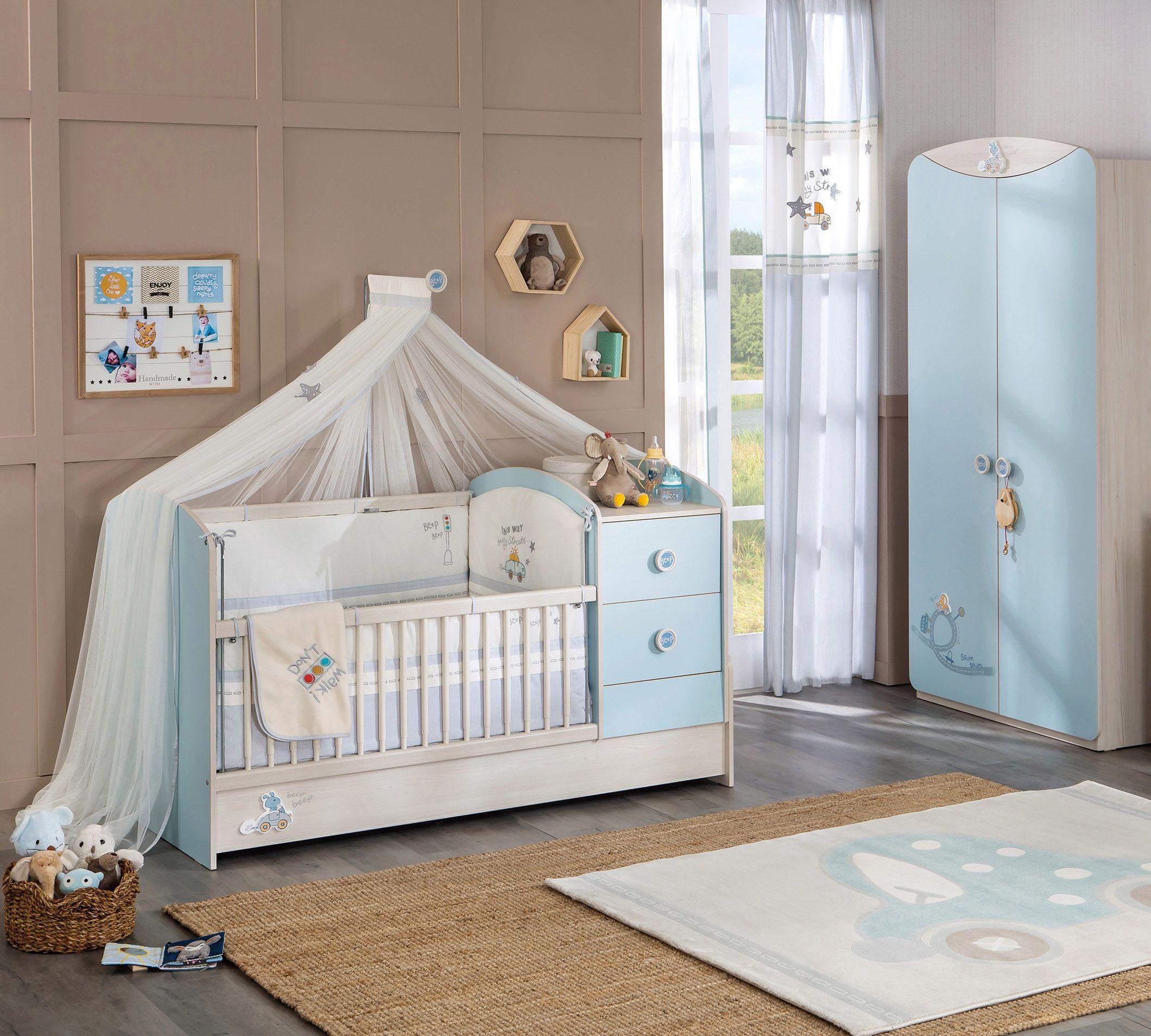 Babybed Met Kast.Babykamer Blauw Babybed Ledikant Troonhemel Kast