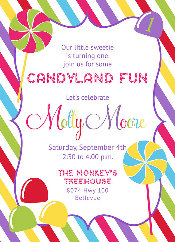 Candyland Candy Shop Invitation PRINTABLE