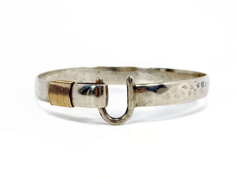 Vintage Sonya Sterling 14k Gold Hook Bracelet Hammered Silver St Croix