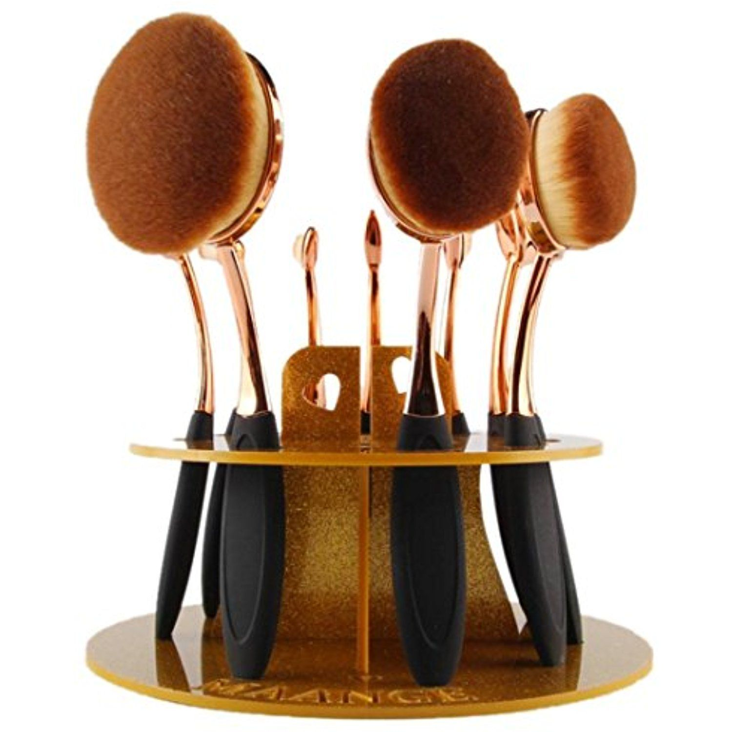Voberry 10 Hole Oval Makeup Brush Holder Drying Rack