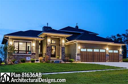 Plan 81636ab Amazing Prairie Style Home Plan Prairie Style Houses House Plans House Exterior